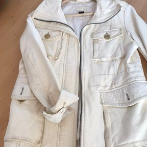 Leather off white military inspired jacket